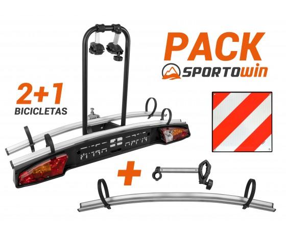 Portabicicletas 2+1 de Remolque Merak + Kit extensión + Placa V20